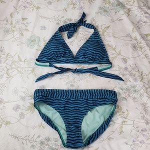 Prana Blue Two-Piece Bikini Bathing Suit